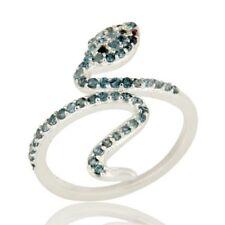 925 Sterling Silver, Natural Amethyst Blue Topaz Gemstone, Snake Designer Ring