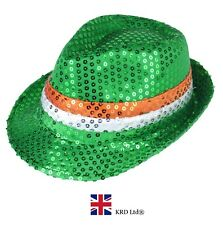 GANGSTER SEQUIN IRISH FLAG HAT St Patricks Day Novelty Plush Clover Fancy Dress