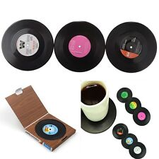 6pcs Retro Vinyl Coaster Groovy Record Cup Drinks Holder Mat Tableware Placemat