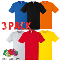 3 x Fruit Of The Loom HEAVY COTTON MEN'S T-SHIRT PREMIUM COTTON PLAIN TOPS PACK