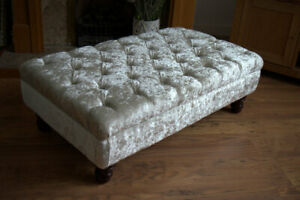 Chesterfield  Deep Button Large Footstool in Cream Crushed Velvet