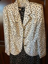 Anne Crimmins for UMI Collection, 2 pc Dress and Jacket, Women's 8, Black/white