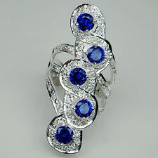 MARVELOUS! BLUE SAPPHIRE & WHITE SAPPHIRE STERLING 925 SILVER RING SIZE 7.5