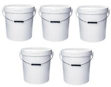 20 Liter Eimer mit Deckel, weiß, stapelbar, mit Lebensmittelfreigabe (5 Stück)