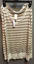 $77 NWT LA Made Brand Brown White Stripe V Neck Long Sleeve Top Size S