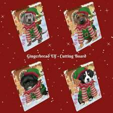 Christmas Gingerbread Elf Dog Cat Pet Photo Lovers Tempered Glass Cutting Board