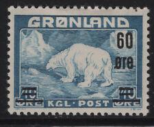 GROENLANDIA Francobolli 1956 orsi sovrastampati nuovi linguellati, centrati