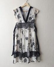 MOSSIMO Silk Monochrome V-Neck Floral Wrap Cap Sleeve Work Smart Casual Dress 8
