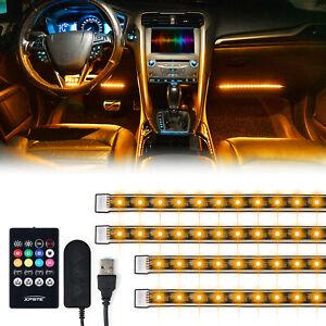4x 12.8in Car Interior Atmosphere Lights Strip 5050 SMD RGB Under Dash Footwell