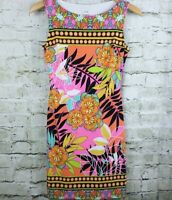 Cache Womens Dress Size 2 Multi Color Tropical Floral Sleeveless Sheath Stretchy