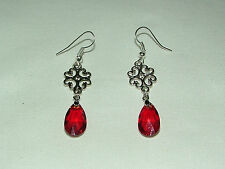 LACY FILIGREE VICTORIAN STYLE RED FACETED GLASS DARK SILVER PLATED EARRINGS