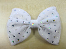 White Velvet & Sequin Sparkly Bow Tie On Elastic Fancy Dress Clown Fun