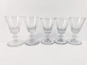 GEORGIAN PETAL CUT GIN GLASSES SET OF 5 ANTIQUE RARE