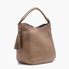 J.CREW Pebble Leather  Brown Beige PEYTON HOBO BAG NWT #E0214