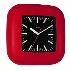 ACCTIM Janssen Wall Clock Red Plastic case Glass lens Black dial 22.5cm