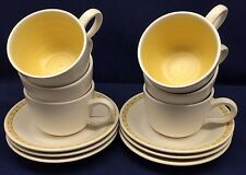 Set of 6 Cups and Saucers Franciscan Dinnerware Hacienda Gold MCM Vtg Floral