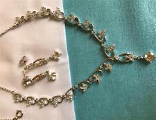 18k White Gold Filled Luxury Fashion Women's Necklace bracelet Set - 3-piece set