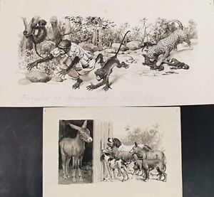 COUPLE OF ORIGINAL ILLUSTRATIONS. WATERCOLOR ON PAPER. SANCHEZ TENA.XXTH CENTURY
