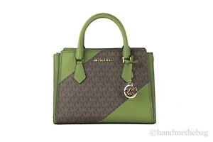 Michael Kors Hope Medium Leather Signature Logo Messenger Crossbody Handbag