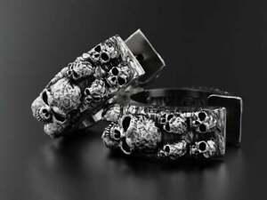 Men's 18K White Gold Over Punk Skull Hoop Earrings Gift For Her Unisex Jewelry