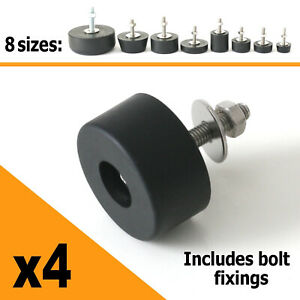 4 x Rubber Feet Set with Bolt Fixings 25mm 38mm 42mm 64mm - Light to Heavy Duty