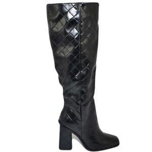 Stivali donna a punta quadrata nero gambale aderente al ginocchio stampa rombale