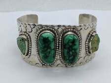 """LARGE Sterling Silver Native American Style Cuff Oval Turquoise Stones 7.25"""""""
