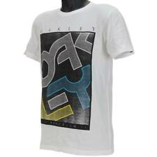 Oakley STATEMENT Short Sleeve T-Shirt Size M Medium White Mens Slim Tee