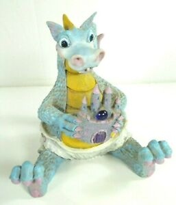 Vtg 1988 Steve Tunturi Blue Baby Dragon Whittlers Workshop Carved Wood Figure