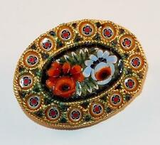 VINTAGE GOLDTONE MULTI COLOR MICRO MOSAIC FLOWERS FLORAL OVAL BROOCH PIN