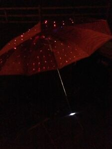 Pink Umbrella With Torch And Multicoloured LED  Lights