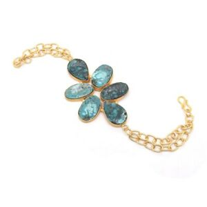 Blue Turquoise Gemstone Gold Plated Jewelry Bracelet Gift For Brother P694