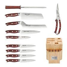 CRIMSON Series 11pc Cutlery Block Set w/ Nakiri  German Stainless G10 Handles