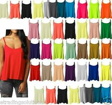 New Womens Plain Swing Vest Sleeveless Top Strappy Cami Ladies Size Flared CmiSm