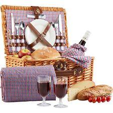 Garden Life Picnic Hamper Set Utensils & Blanket 2 Person Traditional Basket NEW