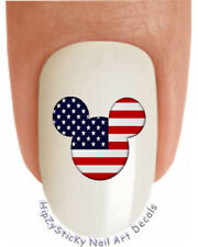 "Nail Art #633 COUNTRIES ""Mickey Ears USA Flag"" WaterSlide Nail Decals Transfer"