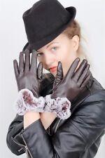 Damen Handschuhe mit Fell in Kunstleder Farbe Braun