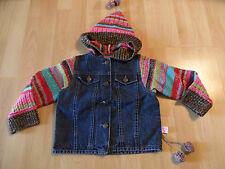 MIM-PI tolle Jeansjacke mit Strickärmeln und -kapuze Gr. 122 w. NEU ST116