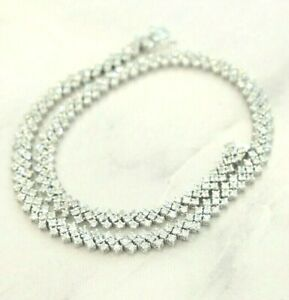 """NEW Cubic Zirconia Sterling Silver Tennis Necklace 16"""""""