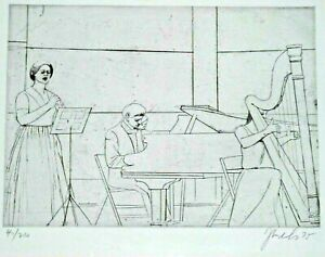 ARTIST PENCIL SIGNED ETCHING OF MUSICIANS PERFORMING CONCERT