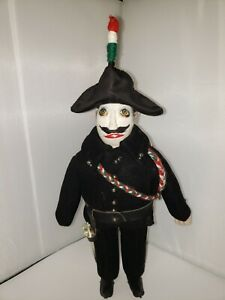 """WOODEN ITALIAN GENDARME DOLL -HAND PAINTED 10"""" TALL"""