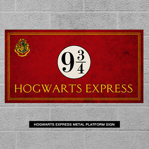 Hogwarts Express Metal Sign - Harry Potter Gift Plaque Platform 9 Train Sign Red
