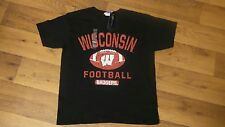 NWT New Agenda Boys M 10/12 Blk/Red Wisconsin Badgers S/S Football T-shirt