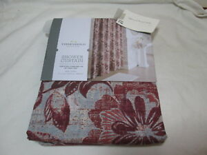 """Threshold Quality & Design Fabric Shower Curtain 72x72"""" BERRY FLORAL NEW"""