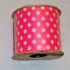 "Pink/White Polka Dot Ribbon Spool 3"" Wide 12 yds Sewing Wedding Craft Bows NOS"
