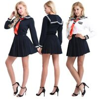 Japanese Anime School Girl Sailor Uniform Outfit Cosplay Costume Sailor Dress