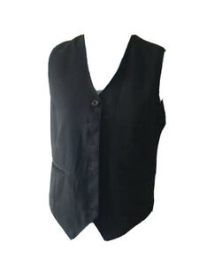 Womens Waistcoat Size 8 Black Formal Business Office Work Wear With Buttons