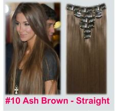 """15"""" Clip in Hair Extensions STRAIGHT Light Ash Brown #10 FULL HEAD 8pcs"""