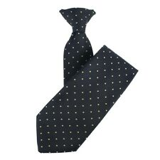 Navy Blue With Yellow Polka Dot Patterned Clip-On Tie