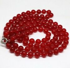 """Stunning long 33"""" 10mm round natural red Ruby beads necklace"""